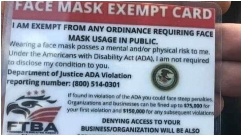 """Картата """"Освободена маска за лице"""" от свобода за дишане не е одобрена от ADA"""