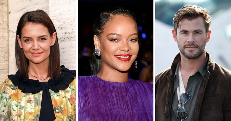 Rihanna, Keitija Holmsa, Kriss Hemsvorts atpakaļ #blackouttuesday iniciatīva ar melna fona attēlu Insta plūsmā