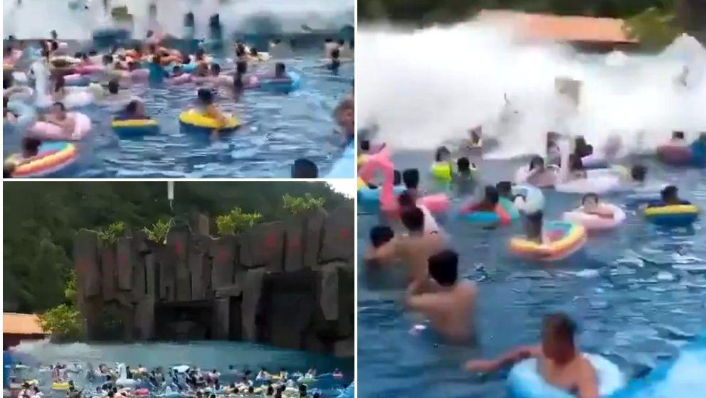 OGLED: Bazen kitajskih valov se spremeni v bazen cunamija, poškoduje več deset