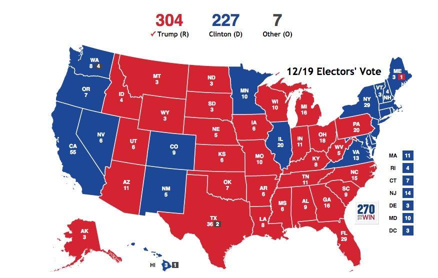 Resultados da votação do colégio eleitoral: lista estado por estado