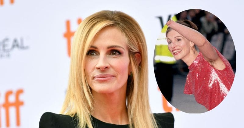 Julia Roberts diz que seu olhar com as axilas peludas na estreia de Notting Hill 'não foi uma declaração'