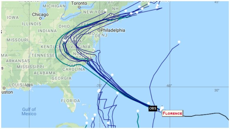 Florence Spaghetti Model: Latest Hurricane Path [9/11]