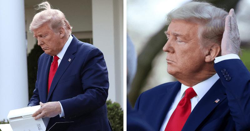 Trump se gaba de seu 'cabelo ao vento' no meio de uma coletiva de imprensa sobre o coronavírus: 'É meu'