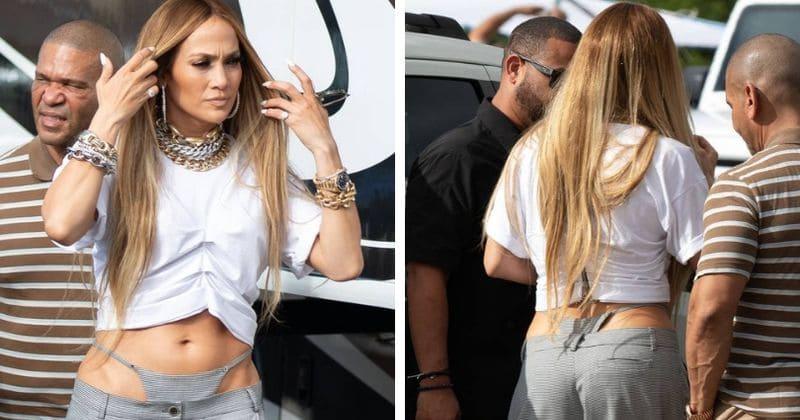 Jennifer Lopez daje bizarne modne izjave v hlačah z visokim pasom