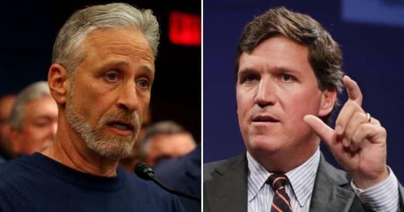 Jon Stewart pede desculpas a 'd ** ks' por confundi-los com Tucker Carlson, a Internet diz 'você o venceu com palavras'