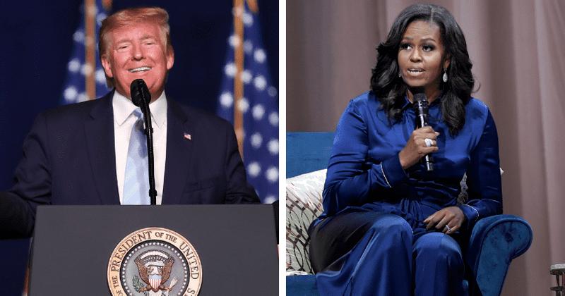 Трамп GOP донорларынан күлкі алу үшін Мишель Обаманың келбетін мазақ етті, Интернетте «айнаға қара **» дейді